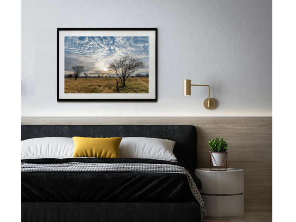 An inspiration of home decoration with a picture hang in a bedroom