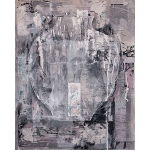 Vessels1 a collage by Kwan Yung Yee, a Hong Kong artist, mixed media on canvas