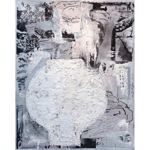Vessels2 a collage by Kwan Yung Yee, a Hong Kong artist, mixed media on canvas