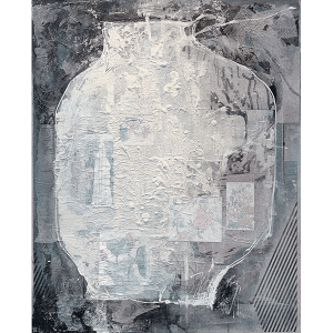 Vessels4 a collage by Kwan Yung Yee, a Hong Kong artist, mixed media on canvas