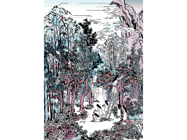 A mixed media painting with digital painting and chinese ink in a series of 6 painting illustrating a religious journey of the artist in the style of chinese landscape painting by yung yee kwan