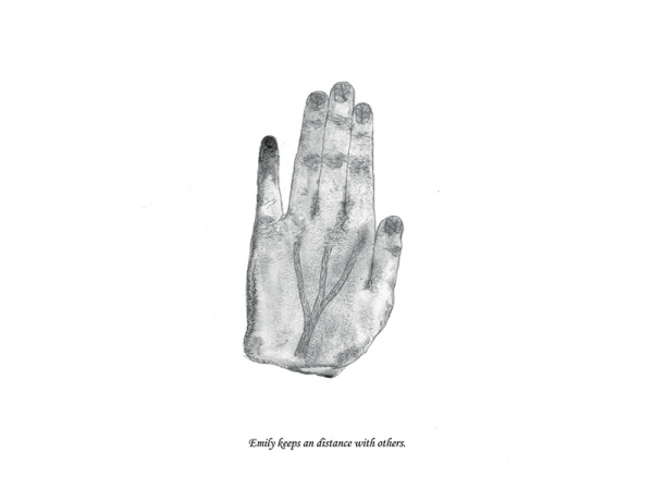 A black and white charcoal painting illustrating the inner feeling expressed by the hands