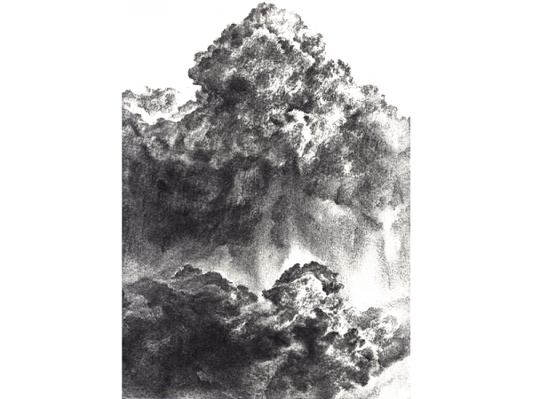 A black and white charcoal painting illustrating smoke and gas by Liz Mo