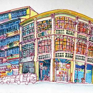 A sketch of the architecture in Hong Kong, an old building, by Alison Hui
