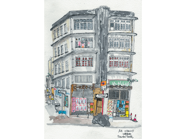 A sketch of the architecture in Hong Kong, an abandoned old building, by Alison Hui