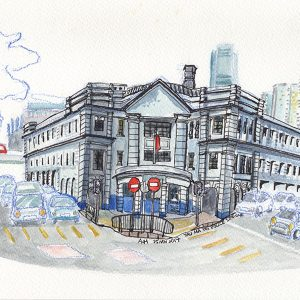 A sketch of the architecture in Hong Kong, Police Station in Yau Ma Tei, by Alison Hui