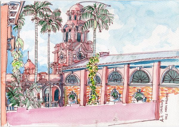 A sketch of the architecture in Hong Kong, the Hong Kong University Main Building, by Alison Hui