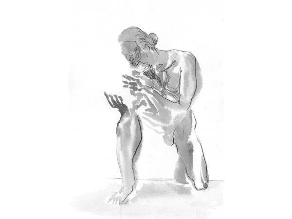 A sketch of a nude model pretending holding a ball and kneels