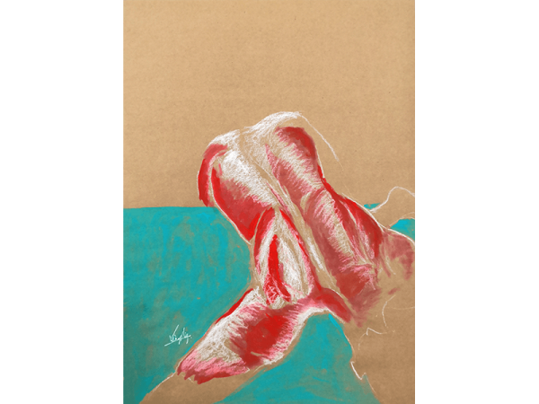 A pastel skecth of a life drawing named dive into the freedom illustrating a nude model