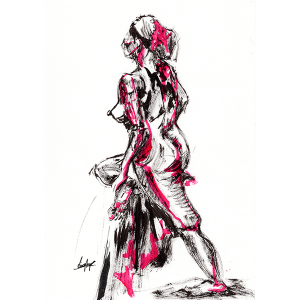 A sketch of a nude woman in a walking pose