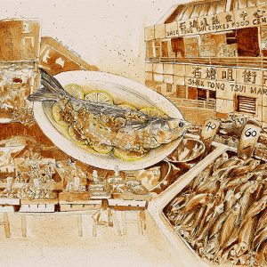 A sketch of a steamed lemon gray mullet and the Shek Tong Tsui market by Ling Ng