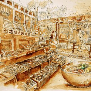 A sketch of a carrot soup and the Shek Tong Tsui Municipal Service Building in Hong Kong by Ling Ng