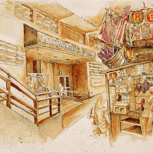 A sketch of the Sail Kung market in Hong Kong by Ling Ng