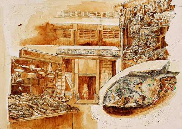 A sketch of a steam fish and the Sai Kung Market in Hong Kong by Ling Ng