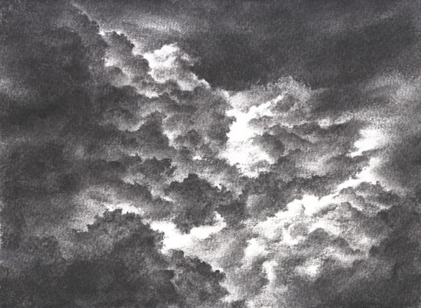 A black and white chorcal painting illustrating the smoke and gas by Liz Mo