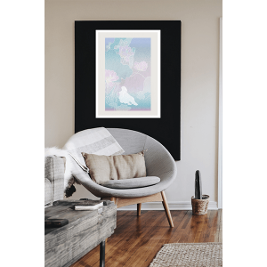 An inspiration of home decoration with a digital painting, named Song of Songs - Embraces by Yung Yee Kwun, hanged in the living room