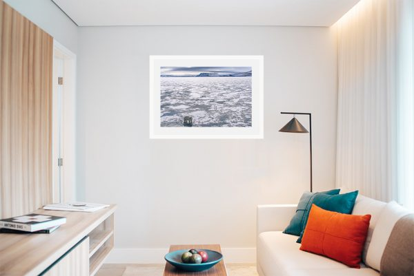 An inspiration of home decoration with a photograph of a polar bear taken in the Artic hanged in the living room