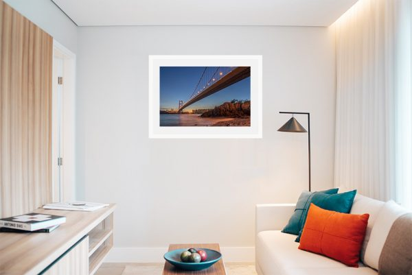 An inspiration of home decoration with a urban photograph of Ting Kau bridge taken in Hong Kong hanged in the living room