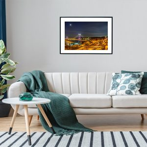 An inspiration of home decoration with a urban photograph taken in the highway in Hong Kong hanged in the living room