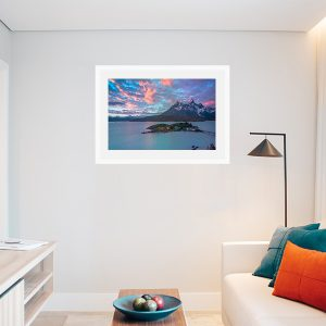 An inspiration of home decoration with a landscape picture taken in Chile hang in the living room